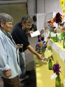 Master Gardener Mike and Donna help me judge the floral competition at the state fair.